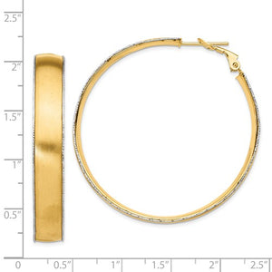14k Yellow Gold White Gold Two Tone Omega Back Hoop Earrings 47mm x 7.5mm