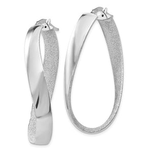 14k White Gold Polished and Satin Twisted Oval Hoop Earrings 45mm x 5mm