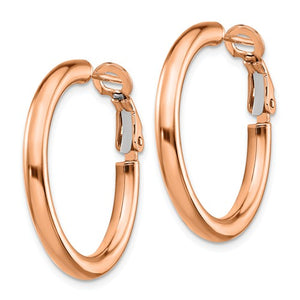 14k Rose Gold Round Omega Back Hoop Earrings 25mm x 3mm