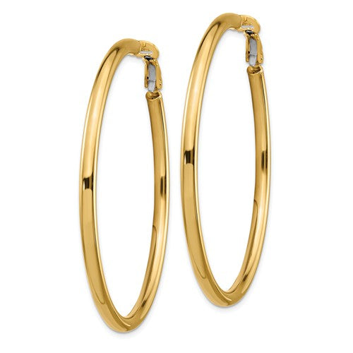 14k Yellow Gold Round Omega Back Hoop Earrings 53mm x 3mm