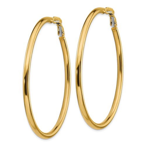 14k Yellow Gold Round Omega Back Hoop Earrings 55mm x 3mm
