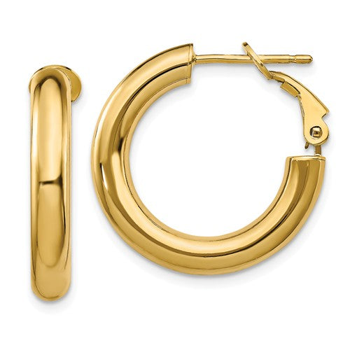 14k Yellow Gold Round Omega Back Hoop Earrings 22mm x 4mm