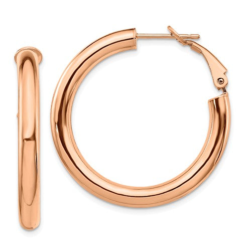 14k Rose Gold Round Omega Back Hoop Earrings 33mm x 4mm