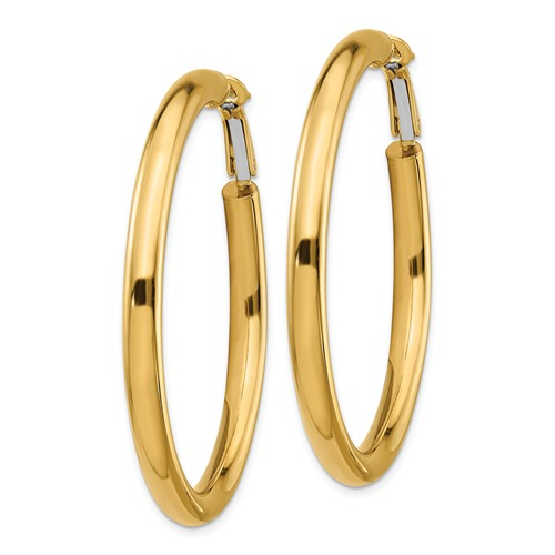 14k Yellow Gold Round Omega Back Hoop Earrings 48mm x 4mm