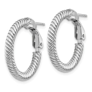 14k White Gold Twisted Round Omega Back Hoop Earrings 20mm x 3mm