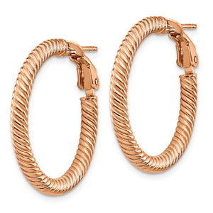 14k Rose Gold Twisted Round Omega Back Hoop Earrings 25mm x 3mm