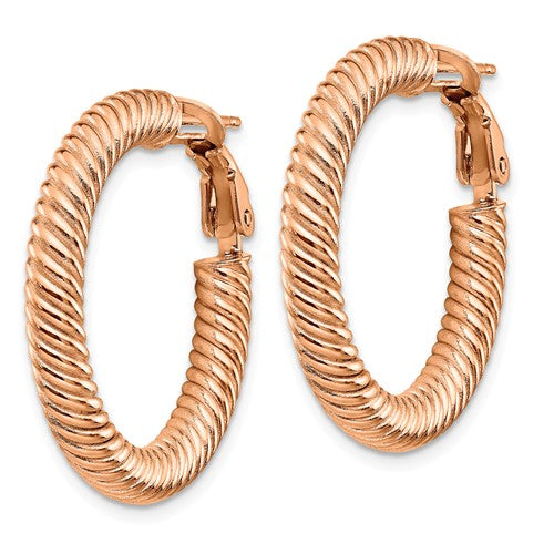 14k Rose Gold Twisted Round Omega Back Hoop Earrings 37mm x 4mm