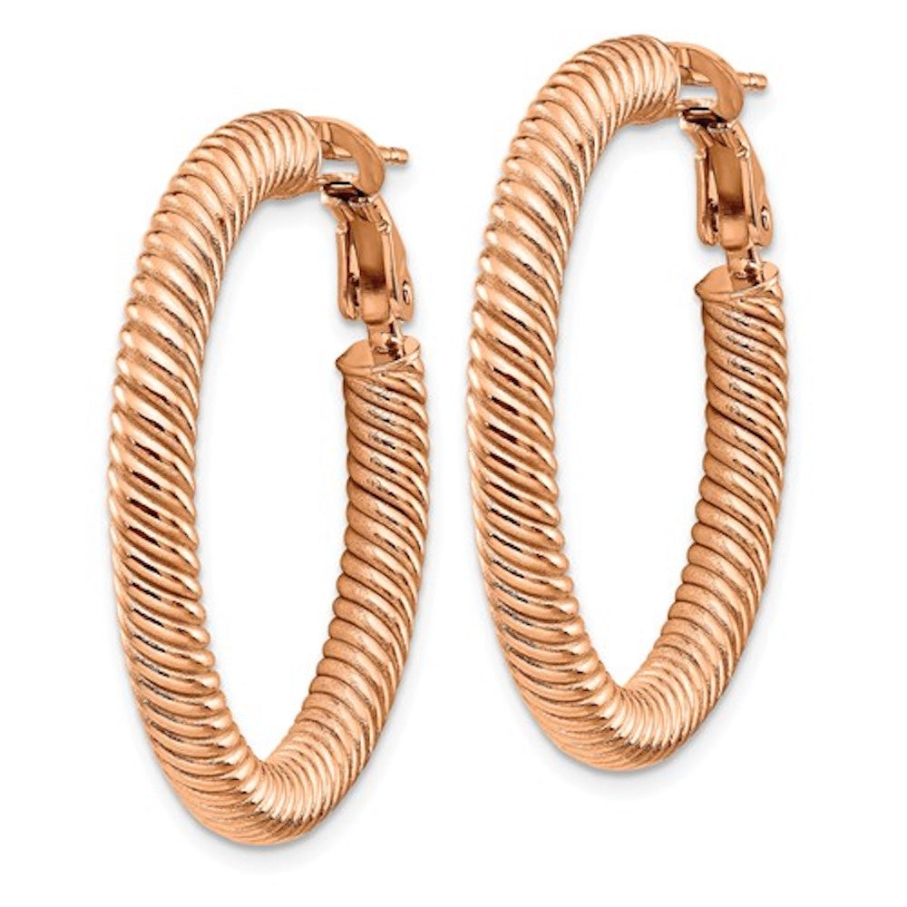 14k Rose Gold Twisted Round Omega Back Hoop Earrings 32mm x 4mm