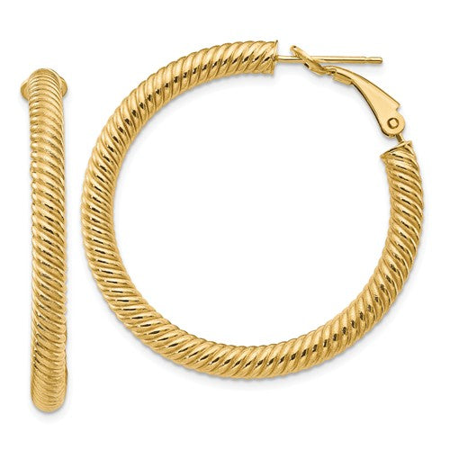 14k Yellow Gold Twisted Round Omega Back Hoop Earrings 37mm x 4mm