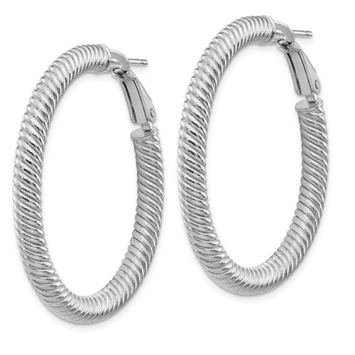 14k White Gold Twisted Round Omega Back Hoop Earrings 37mm x 4mm