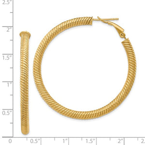 14k Yellow Gold Twisted Round Omega Back Hoop Earrings 46mm x 4mm