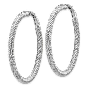 14k White Gold Twisted Round Omega Back Hoop Earrings 46mm x 4mm