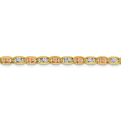 14K Yellow White Rose Gold Tri Color 4.65mm Pavé Valentino Bracelet Anklet Choker Necklace Chain