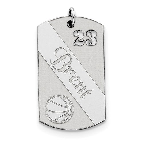 Sterling Silver Basketball Personalized Name Number Dog Tag Engraved Pendant Charm