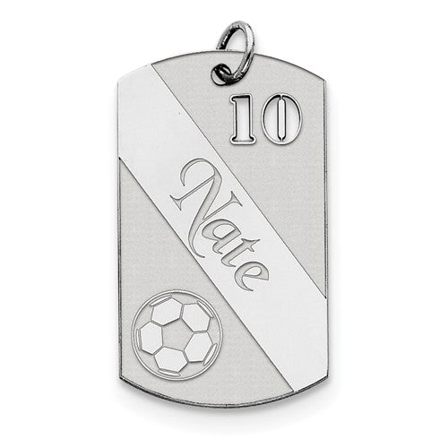 Sterling Silver Soccer Personalized Name Number Dog Tag Engraved Pendant Charm