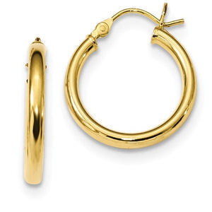 Yellow Gold Plated Sterling Silver Round Hoop Earrings 19mm x 2.5mm