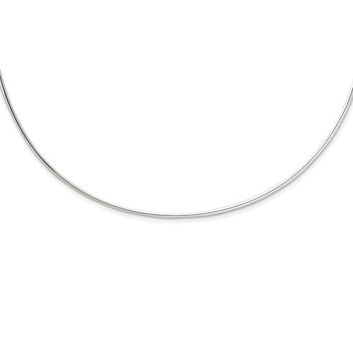 Sterling Silver 2mm Neck Collar Choker Necklace Slip On