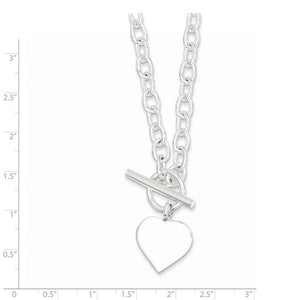 Sterling Silver Heart Tag Toggle Necklace Engraved Personalized Monogram 18 inches