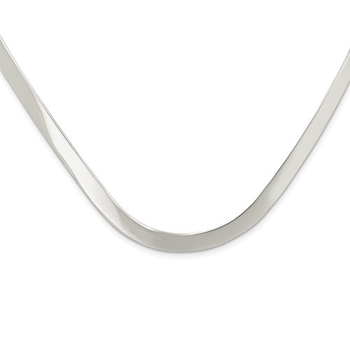 Sterling Silver 5mm V Shaped Flexible Neck Collar Necklace Slip On