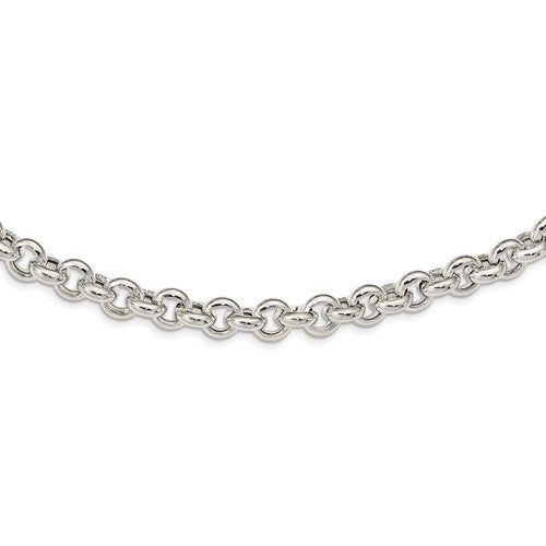 Sterling Silver 8mm Fancy Link Rolo Necklace Chain Spring Ring Clasp 17.5 inches