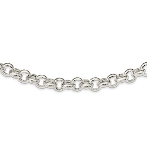 Sterling Silver 11mm Fancy Link Rolo Necklace Chain Spring Ring Clasp 18.5 inches