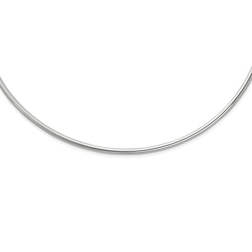 Sterling Silver Rhodium Plated 3mm Neck Collar Choker Necklace Slip On