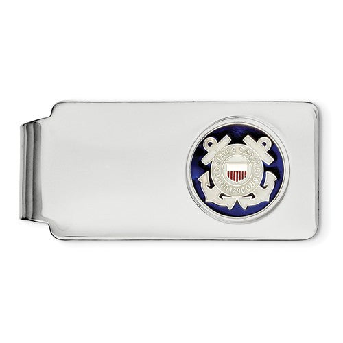 Engravable Sterling Silver USCG US Coast Guard Money Clip Personalized Engraved - BringJoyCollection