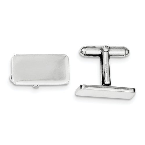 Sterling Silver Rectangle Cufflinks Cuff Links Engraved Personalized Monogram - BringJoyCollection