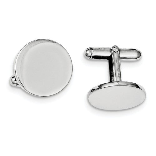 Sterling Silver Round Cufflinks Cuff Links Engraved Personalized Monogram - BringJoyCollection