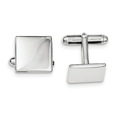Sterling Silver Square Cufflinks Cuff Links Engraved Personalized Monogram - BringJoyCollection