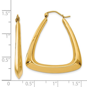 14K Yellow Gold Classic Fancy Hoop Earrings 29mm