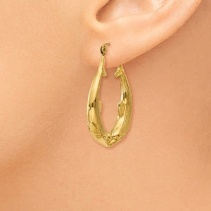 14K Yellow Gold Dolphin Hoop Earrings 23mm