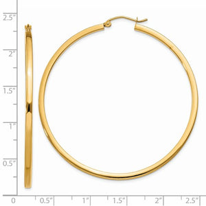 14k Yellow Gold Square Tube Round Hoop Earrings 55mm x 2mm