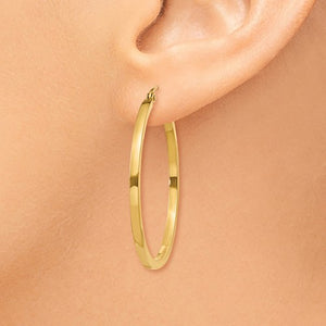 14k Yellow Gold Square Tube Round Hoop Earrings 35mm x 2mm