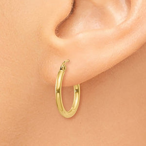 14k Yellow Gold Classic Round Hoop Earrings 17mmx2mm
