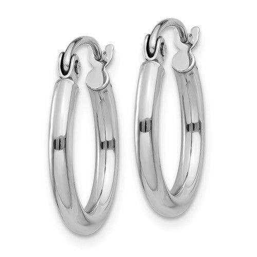 14k White Gold Classic Round Hoop Earrings 15mmx2mm