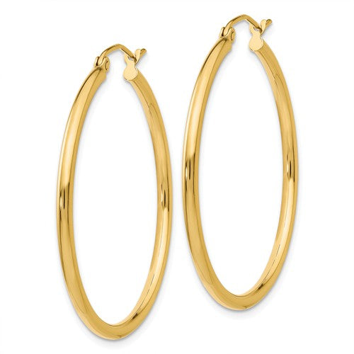14k Yellow Gold Classic Round Hoop Earrings 34mmx2mm