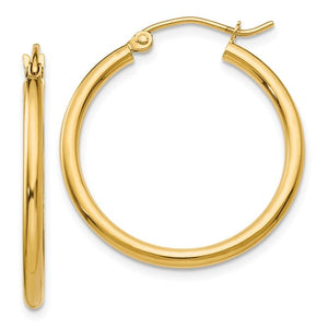 14k Yellow Gold Classic Round Hoop Earrings 25mmx2mm