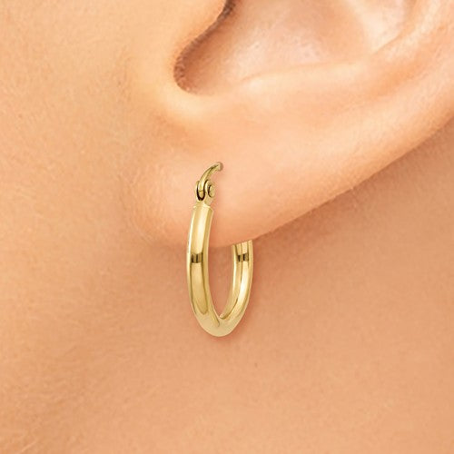 14k Yellow Gold Classic Round Hoop Earrings 14mmx2mm
