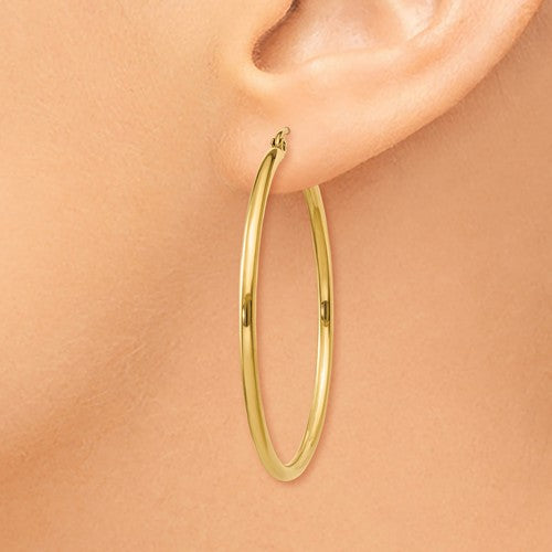 14k Yellow Gold Classic Round Hoop Earrings 40mmx2mm