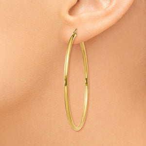 14k Yellow Gold Classic Round Hoop Earrings 52mmx2mm