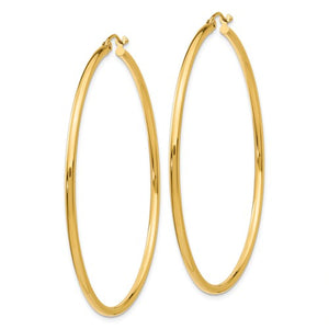 14k Yellow Gold Classic Round Hoop Earrings 55mmx2mm