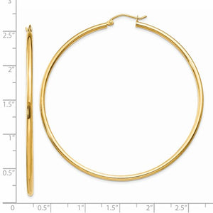 14k Yellow Gold Classic Round Hoop Earrings 60mmx2mm