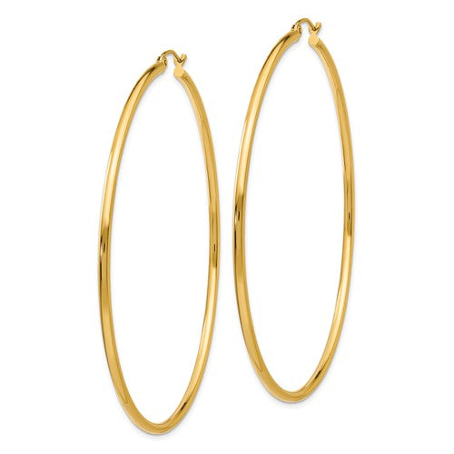 14k Yellow Gold Classic Round Hoop Earrings 64mmx2mm