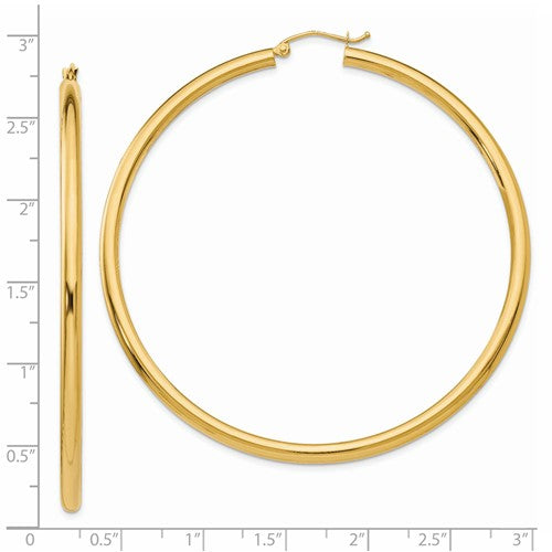 14k Yellow Gold Classic Round Large Hoop Earrings 64mm x 3mm Lightweight