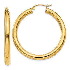 14k Yellow Gold Classic Lightweight Round Hoop Earrings 40mmx4mm - BringJoyCollection