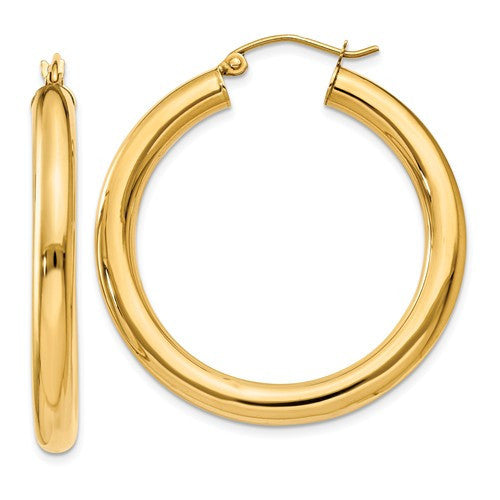 14k Yellow Gold Classic Lightweight Round Hoop Earrings 34mmx4mm - BringJoyCollection