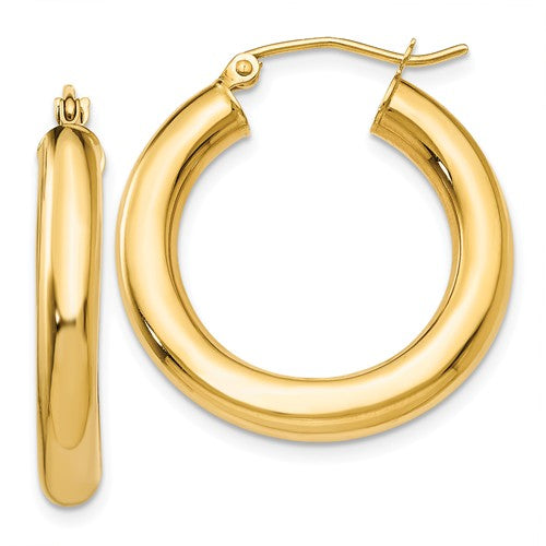 14k Yellow Gold Classic Round Hoop Earrings 24mm x 4mm