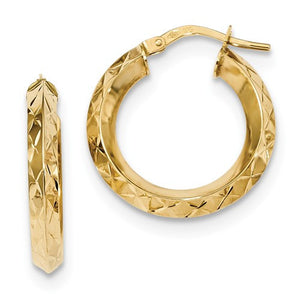 14k Yellow Gold Classic Diamond Cut Round Hoop Earrings GU0917 - BringJoyCollection