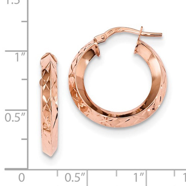 14k Rose Gold Classic Diamond Cut Round Hoop Earrings GU0917I - BringJoyCollection